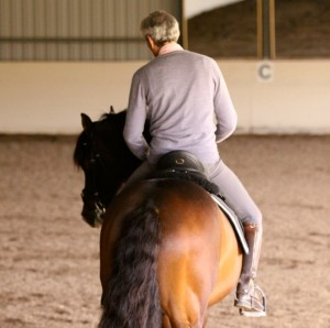 Notice Manolo's alignment.Clint is bent evenly from ears to tail. Manolo is sitting in the middle of his horse, mirroring his horse's shoulders and bend. His waist is rotating his shoulders to the left. He is NOT collapsing at the waist. As a result of his position, he has a little more weight on the inside of the bend. His inside (left) shoulder is back and his outside (right) shoulder slightly forward. His outside (right) leg is slid slightly behind the girth, keeping the hindquarters from swinging and encouraging the outside (right) hind to step over the inside (left) hind which is the pivot leg to the left.